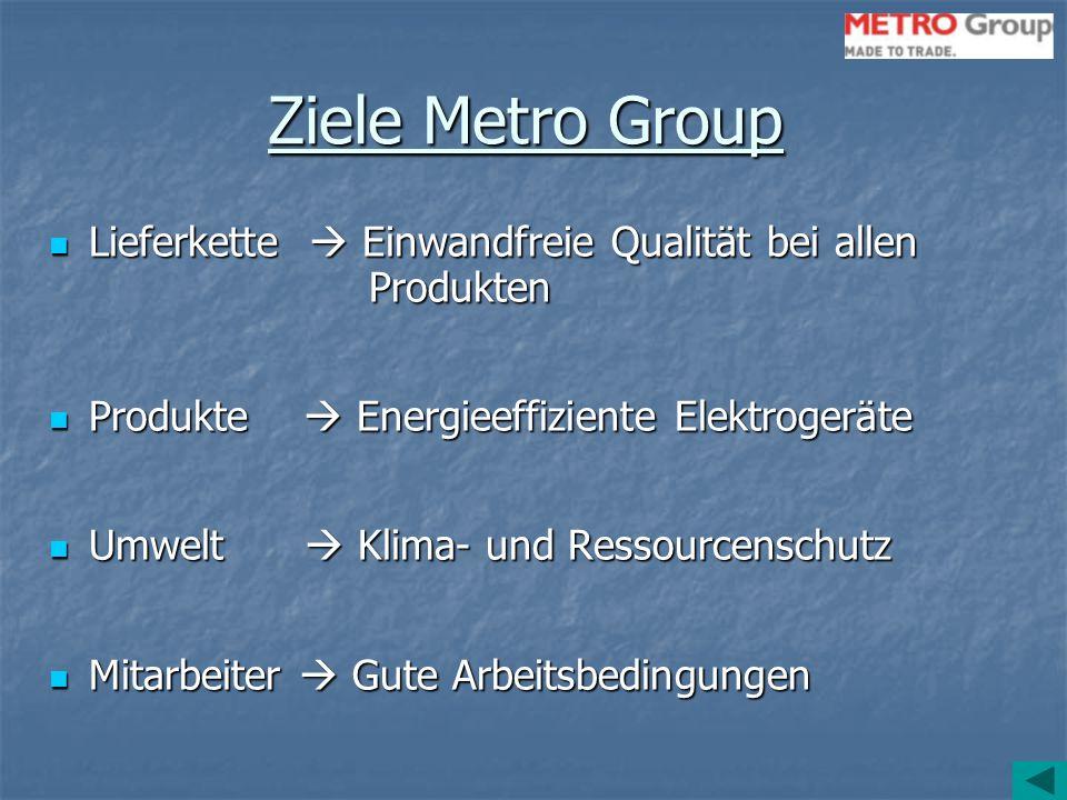 Ziele Metro Group Lieferkette  Einwandfreie Qualität bei allen Produkten. Produkte  Energieeffiziente Elektrogeräte.