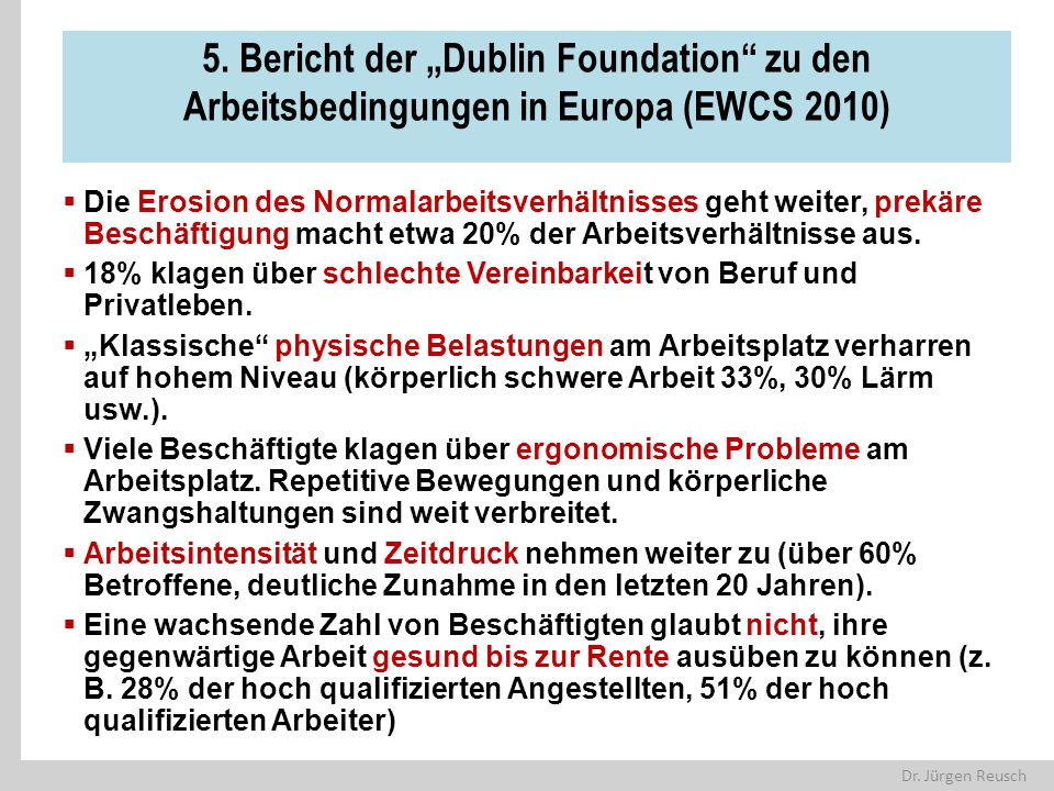 """5. Bericht der """"Dublin Foundation zu den Arbeitsbedingungen in Europa (EWCS 2010)"""
