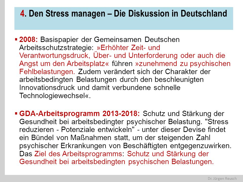 4. Den Stress managen – Die Diskussion in Deutschland