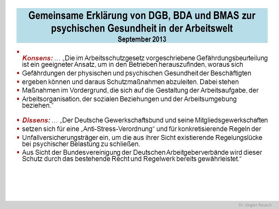 Gemeinsame Erklärung von DGB, BDA und BMAS zur psychischen Gesundheit in der Arbeitswelt September 2013