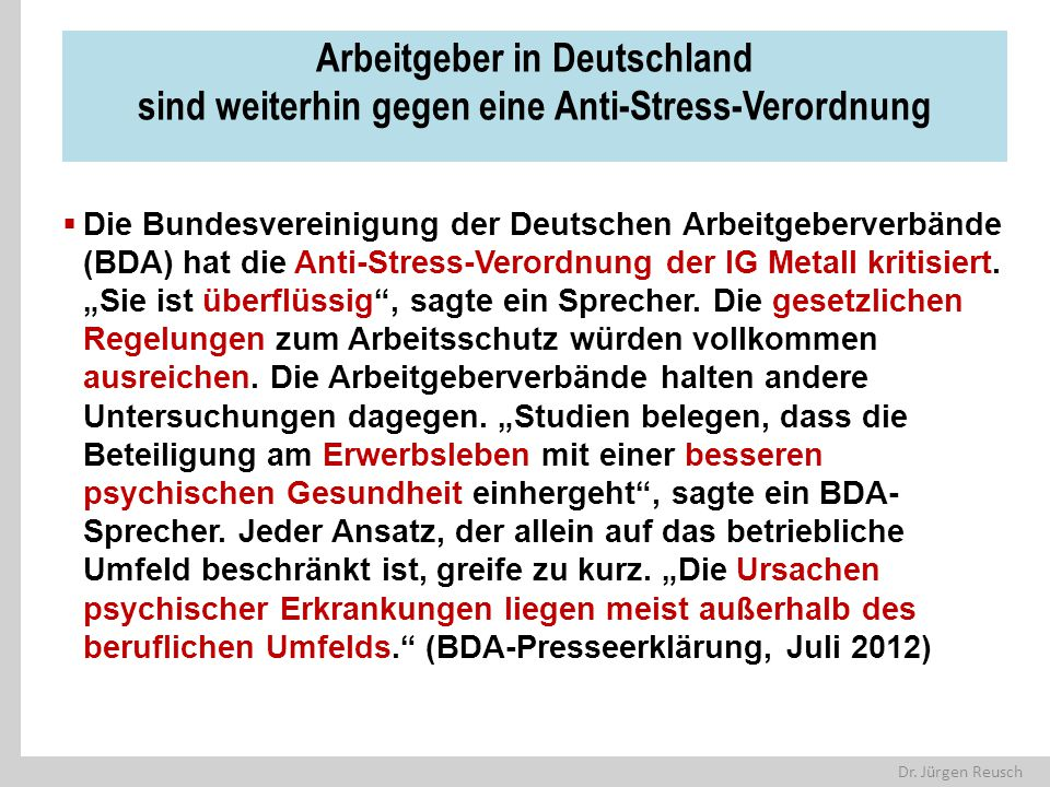 Arbeitgeber in Deutschland sind weiterhin gegen eine Anti-Stress-Verordnung