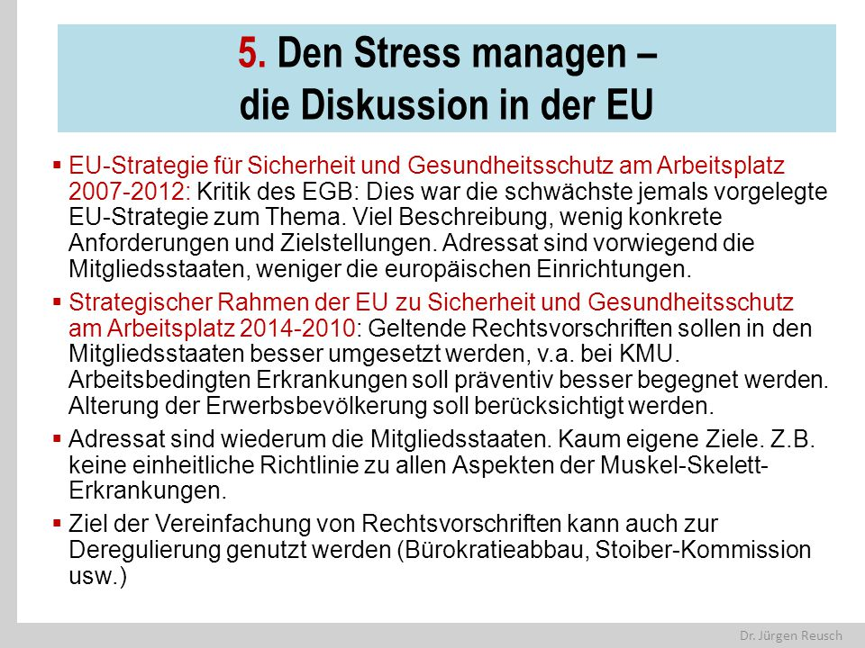 5. Den Stress managen – die Diskussion in der EU