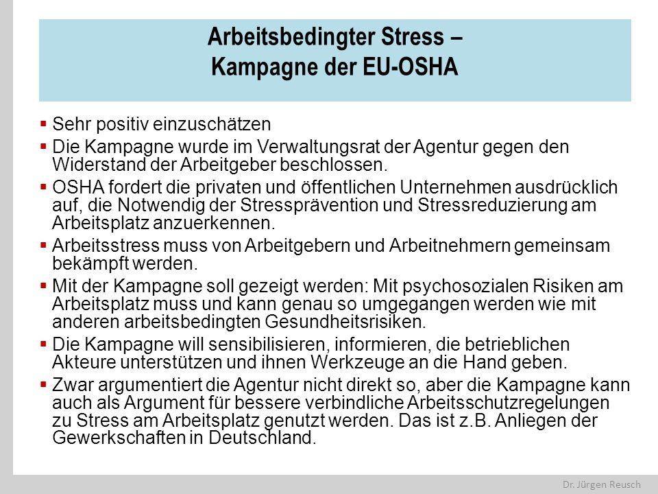 Arbeitsbedingter Stress – Kampagne der EU-OSHA