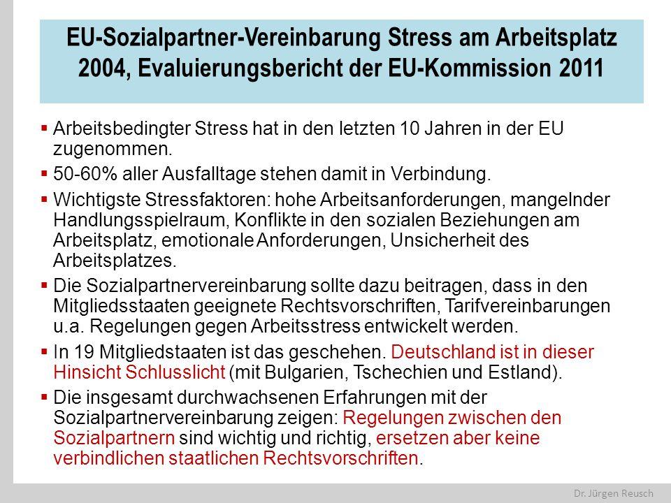 EU-Sozialpartner-Vereinbarung Stress am Arbeitsplatz 2004, Evaluierungsbericht der EU-Kommission 2011