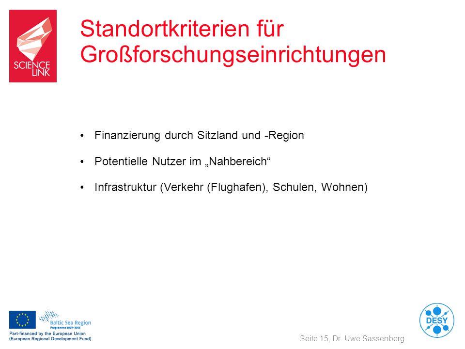 Standortkriterien für Großforschungseinrichtungen