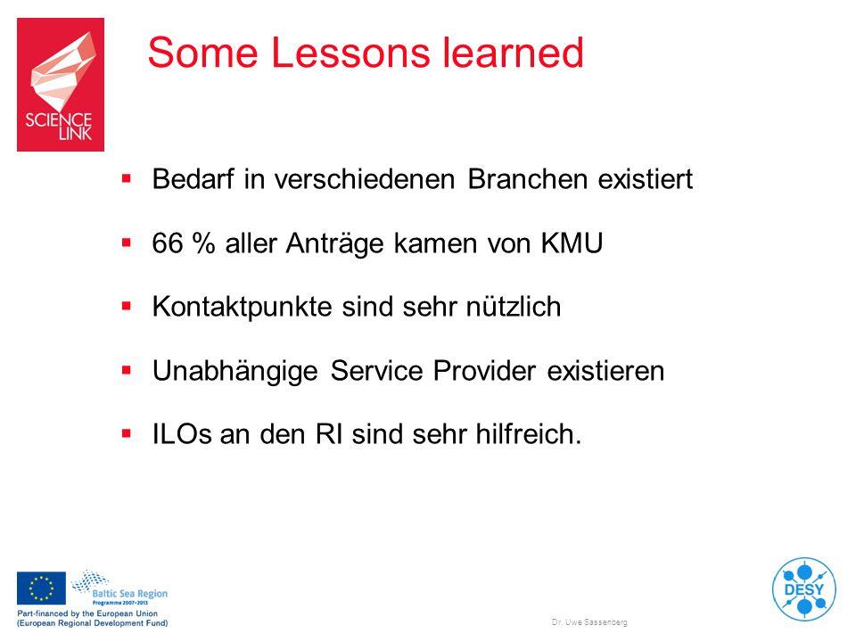 Some Lessons learned Bedarf in verschiedenen Branchen existiert