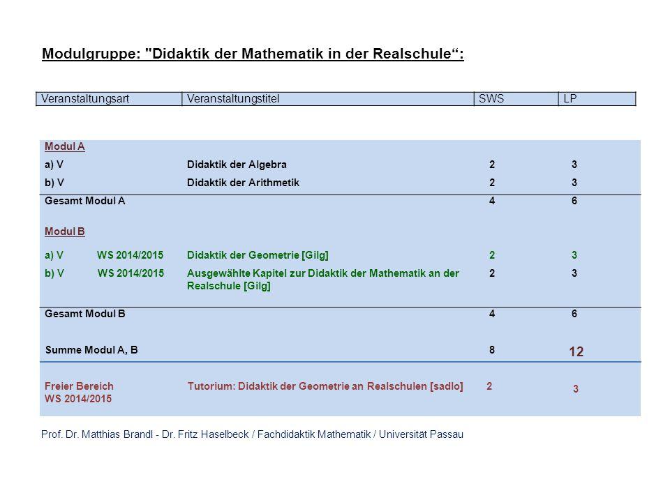 Modulgruppe: Didaktik der Mathematik in der Realschule :