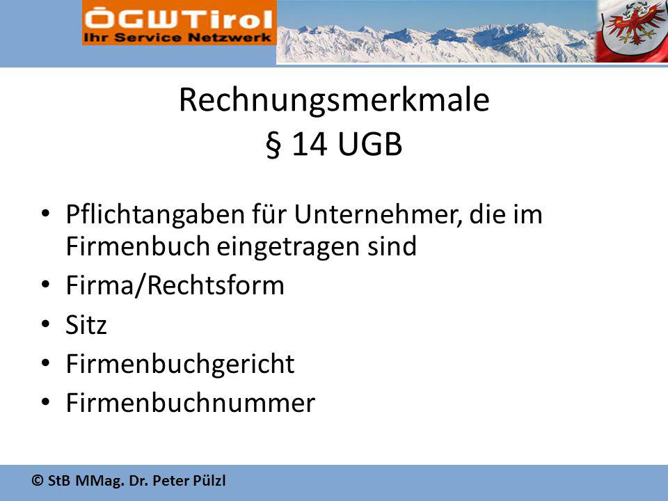 Rechnungsmerkmale § 14 UGB