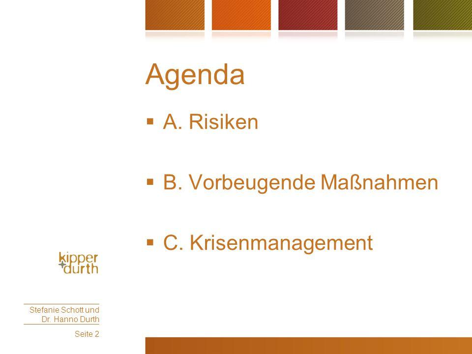 Agenda A. Risiken B. Vorbeugende Maßnahmen C. Krisenmanagement