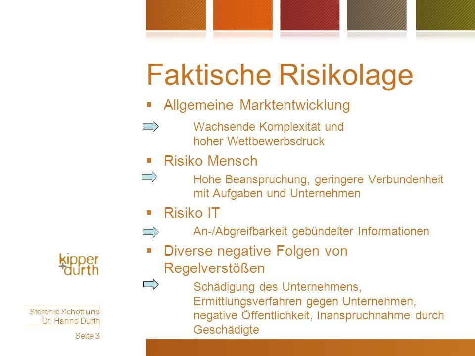 Faktische Risikolage Allgemeine Marktentwicklung