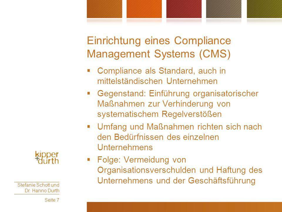 Einrichtung eines Compliance Management Systems (CMS)