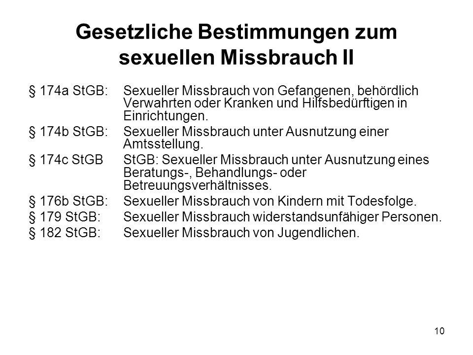 Gesetzliche Bestimmungen zum sexuellen Missbrauch II