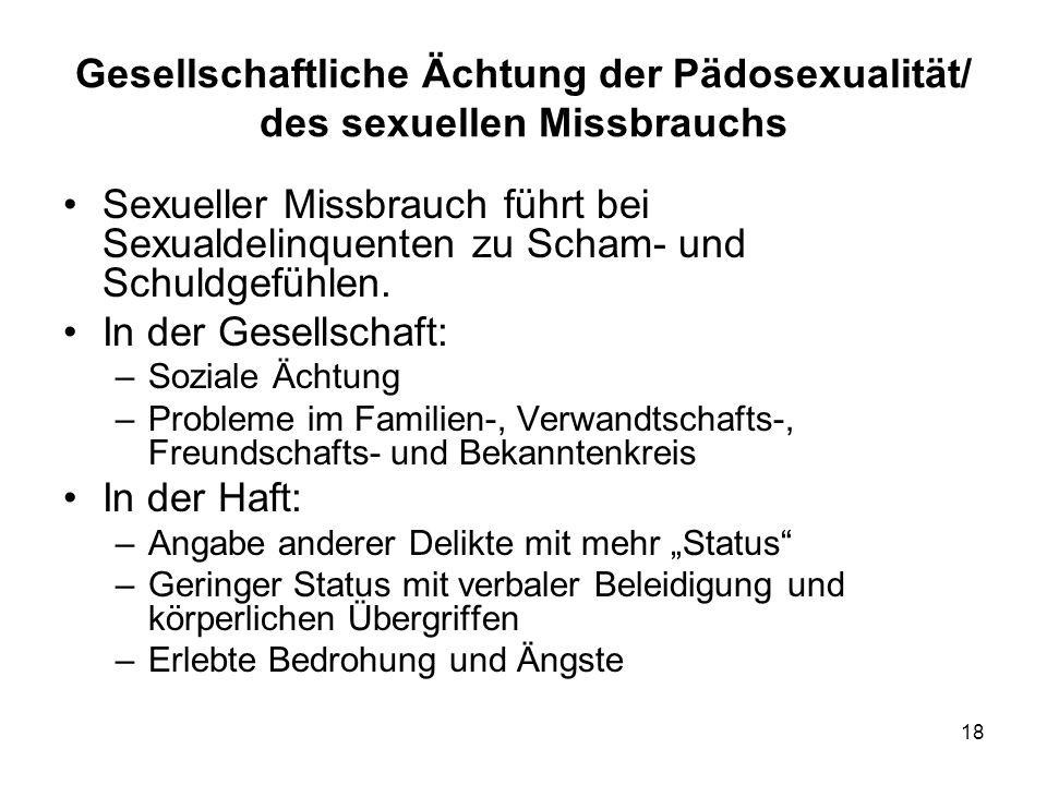 Gesellschaftliche Ächtung der Pädosexualität/ des sexuellen Missbrauchs