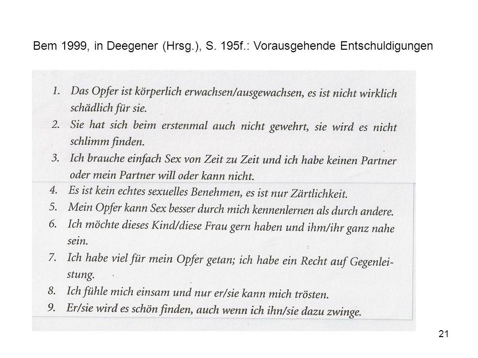 Bem 1999, in Deegener (Hrsg. ), S. 195f