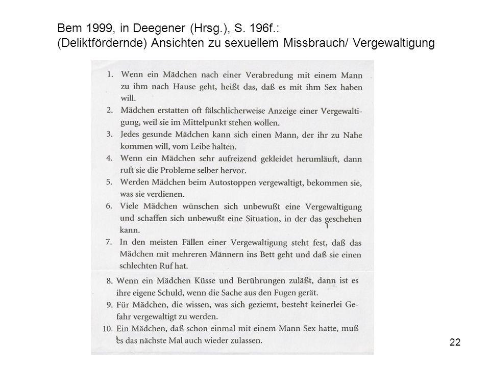 Bem 1999, in Deegener (Hrsg. ), S. 196f