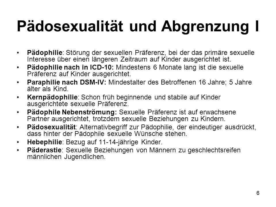 Pädosexualität und Abgrenzung I