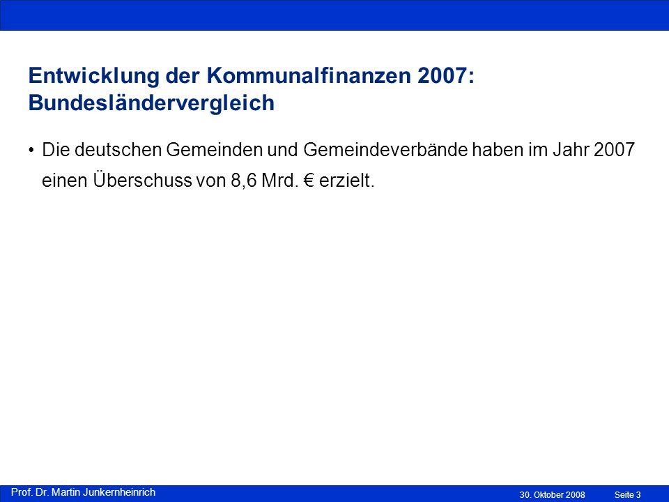 Entwicklung der Kommunalfinanzen 2007: Bundesländervergleich