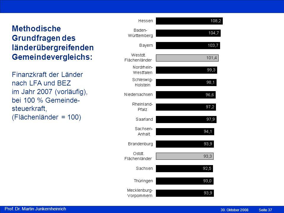 Methodische Grundfragen des länderübergreifenden Gemeindevergleichs: Finanzkraft der Länder nach LFA und BEZ im Jahr 2007 (vorläufig), bei 100 % Gemeinde-steuerkraft, (Flächenländer = 100)