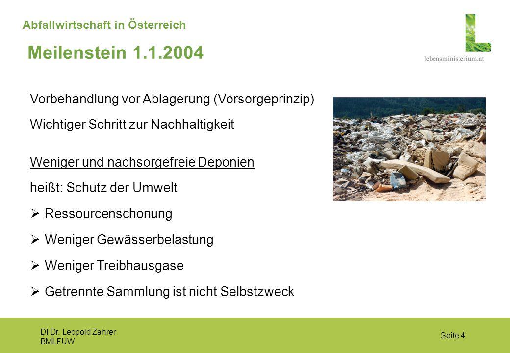 Meilenstein 1.1.2004 Vorbehandlung vor Ablagerung (Vorsorgeprinzip)