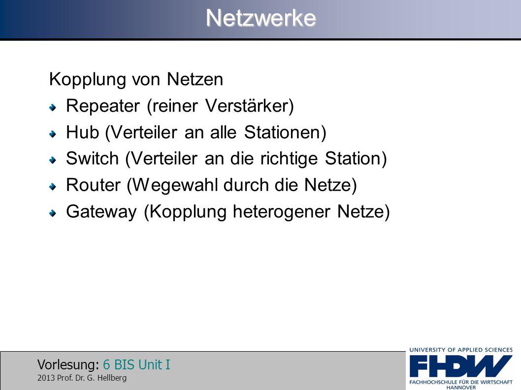 Netzwerke Kopplung von Netzen Repeater (reiner Verstärker)