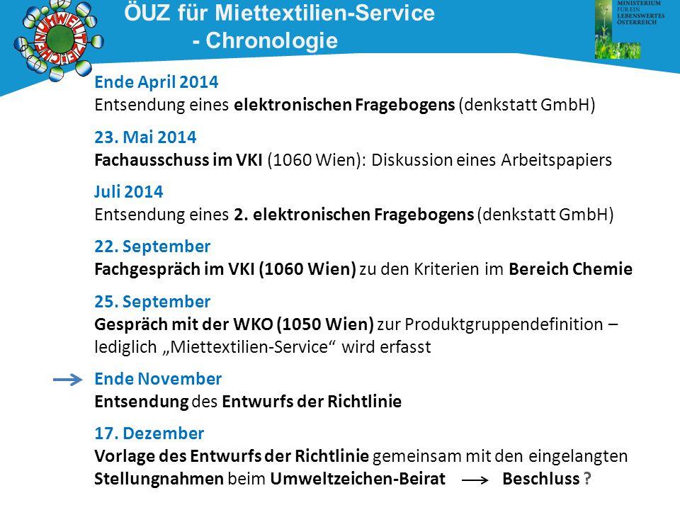ÖUZ für Miettextilien-Service - Chronologie