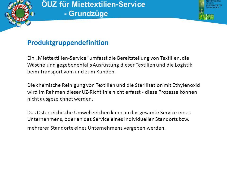 ÖUZ für Miettextilien-Service - Grundzüge