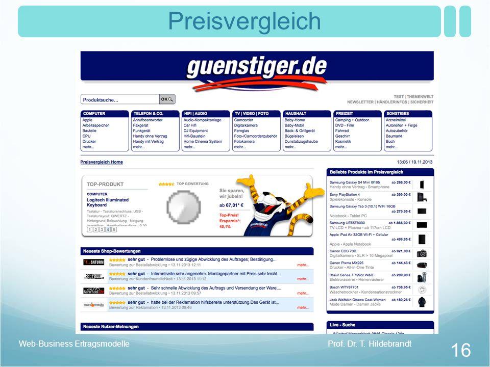 Preisvergleich Web-Business Ertragsmodelle Prof. Dr. T. Hildebrandt