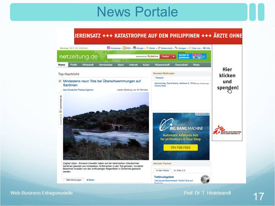 News Portale Web-Business Ertragsmodelle Prof. Dr. T. Hildebrandt