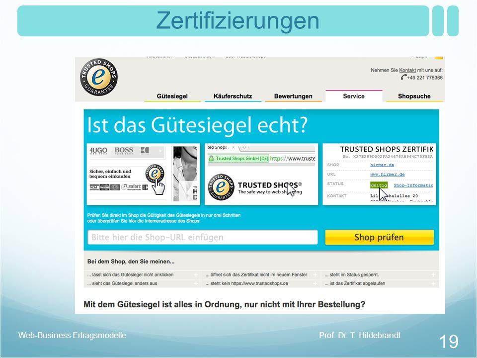 Zertifizierungen Web-Business Ertragsmodelle Prof. Dr. T. Hildebrandt