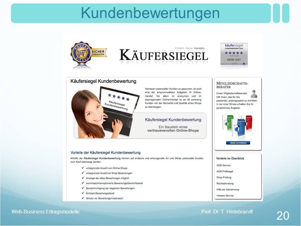 Kundenbewertungen Web-Business Ertragsmodelle Prof. Dr. T. Hildebrandt