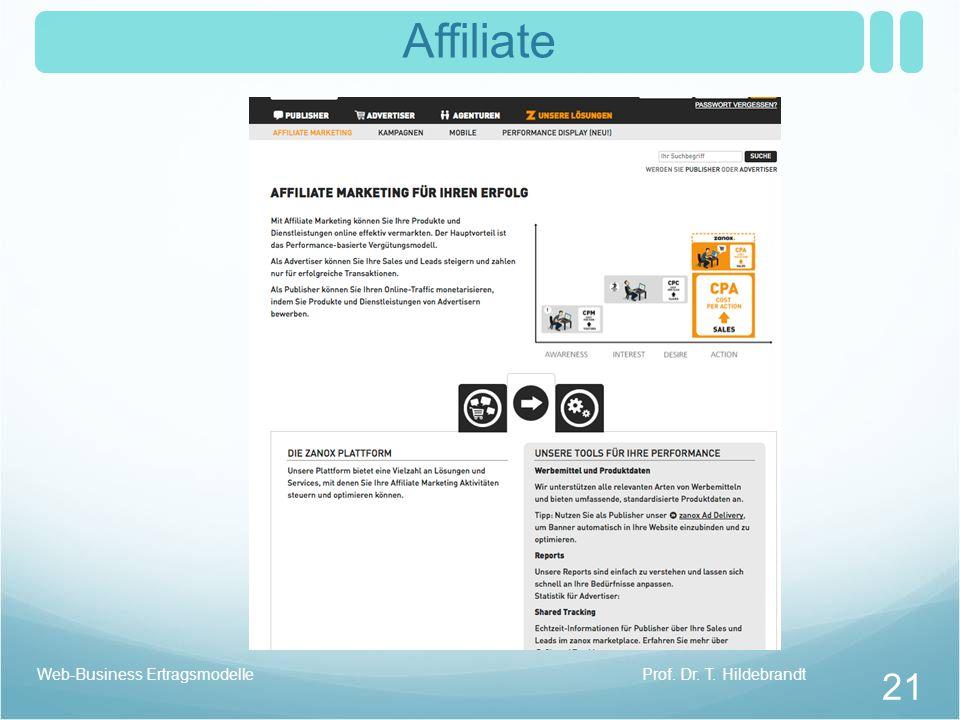 Affiliate Web-Business Ertragsmodelle Prof. Dr. T. Hildebrandt