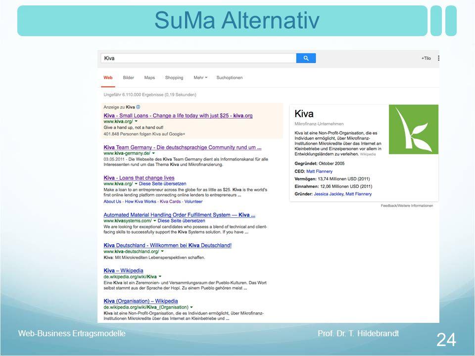 SuMa Alternativ Web-Business Ertragsmodelle Prof. Dr. T. Hildebrandt