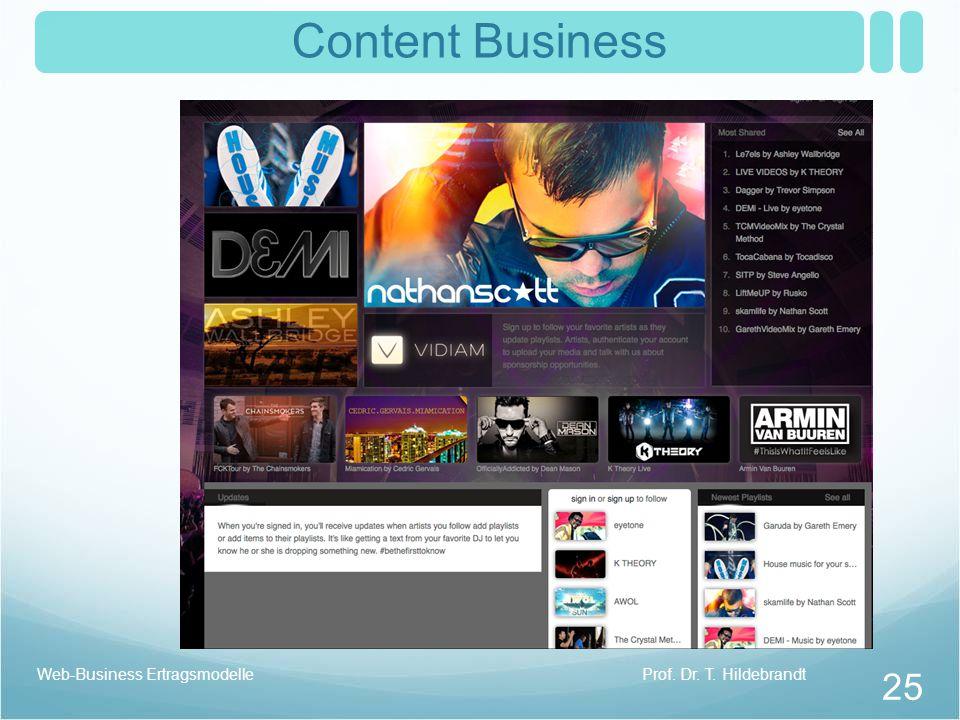 Content Business Web-Business Ertragsmodelle Prof. Dr. T. Hildebrandt