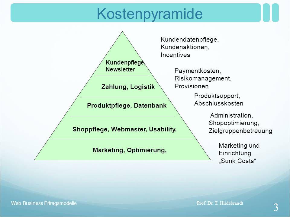 Kostenpyramide Kundendatenpflege, Kundenaktionen, Incentives