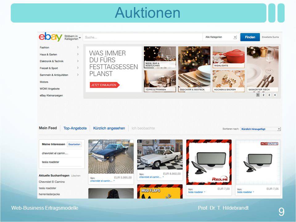 Auktionen Web-Business Ertragsmodelle Prof. Dr. T. Hildebrandt