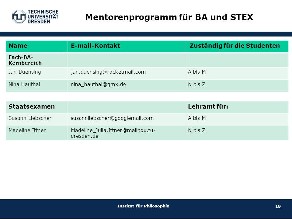 Mentorenprogramm für BA und STEX