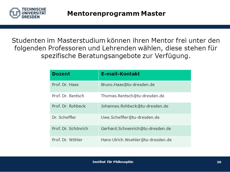 Mentorenprogramm Master
