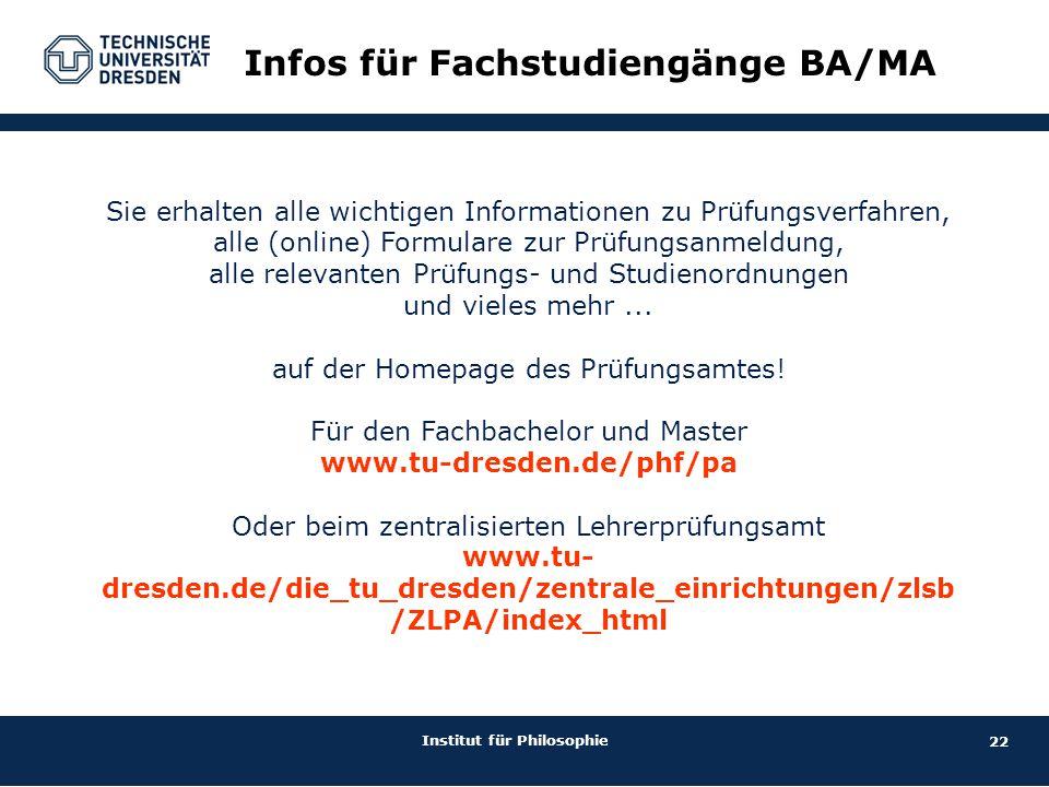 Infos für Fachstudiengänge BA/MA