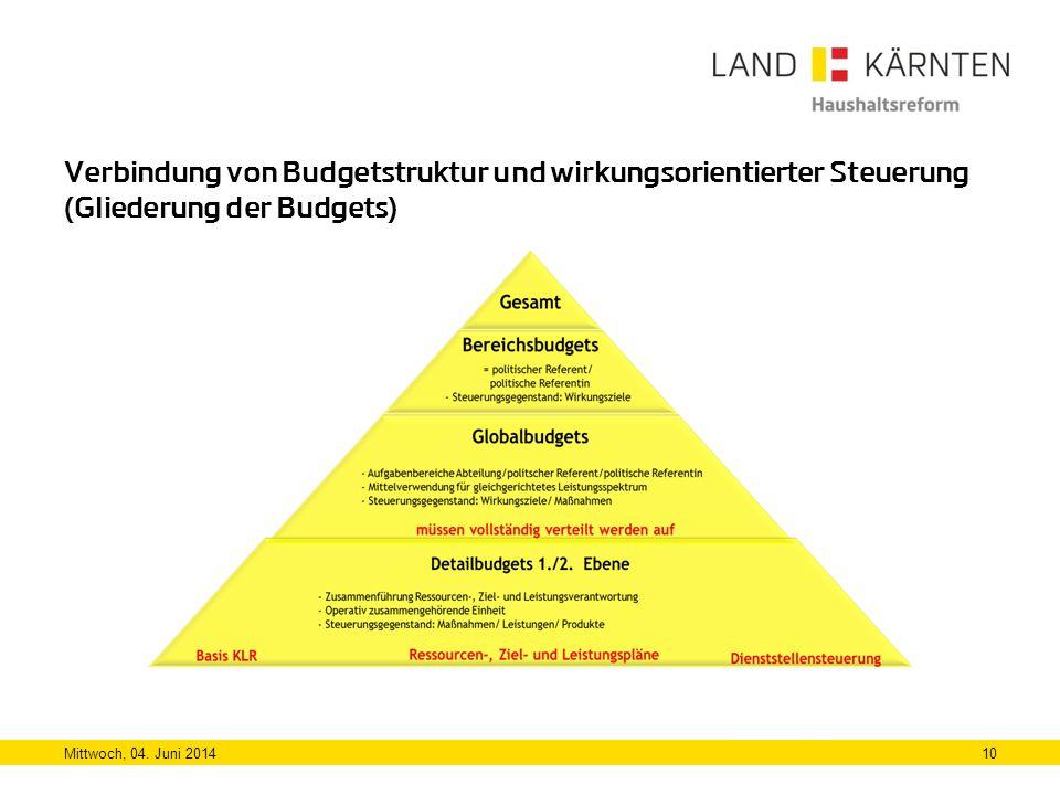 Verbindung von Budgetstruktur und wirkungsorientierter Steuerung (Gliederung der Budgets)