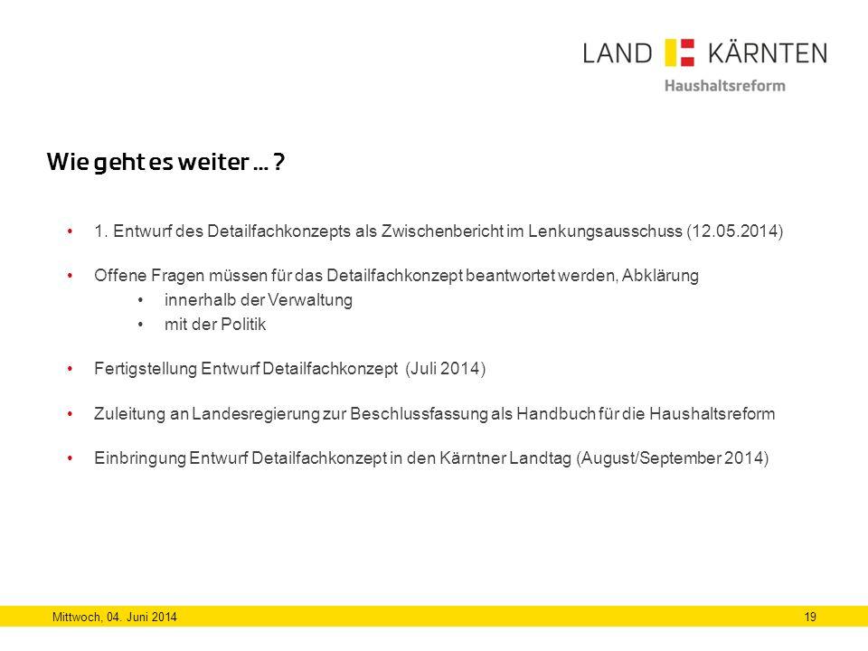 Wie geht es weiter … 1. Entwurf des Detailfachkonzepts als Zwischenbericht im Lenkungsausschuss (12.05.2014)