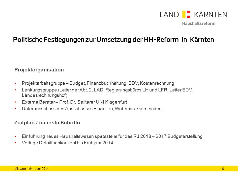 Politische Festlegungen zur Umsetzung der HH-Reform in Kärnten