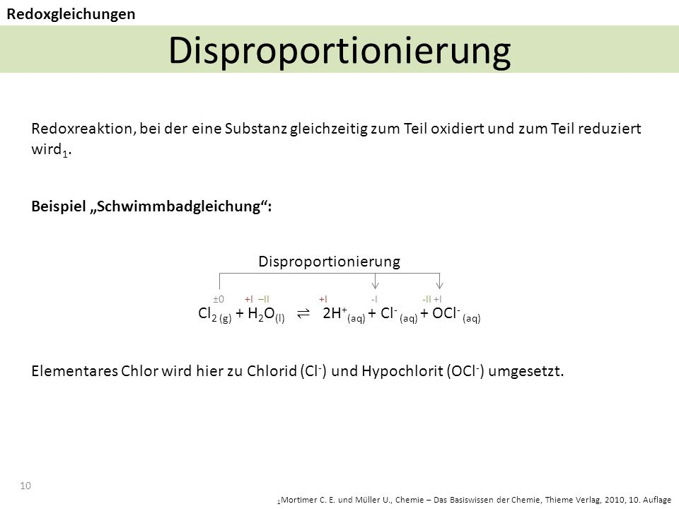 Cl2 (g) + H2O(l) ⇌ 2H+(aq) + Cl- (aq) + OCl- (aq)
