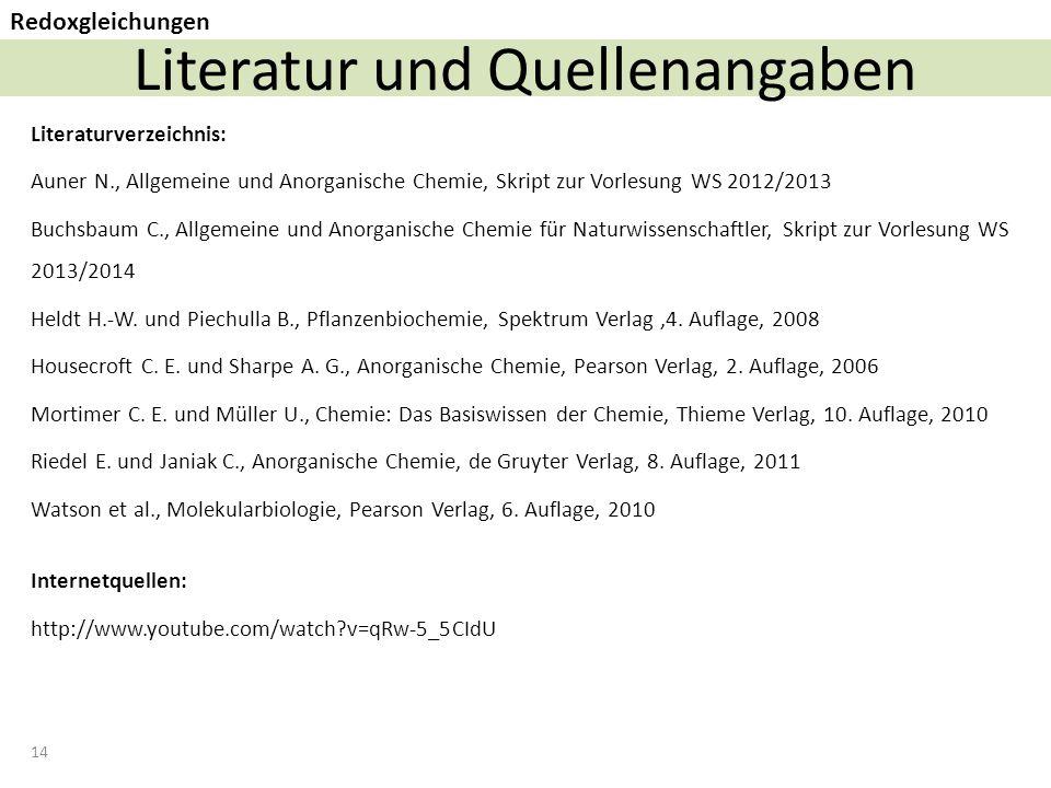 Literatur und Quellenangaben