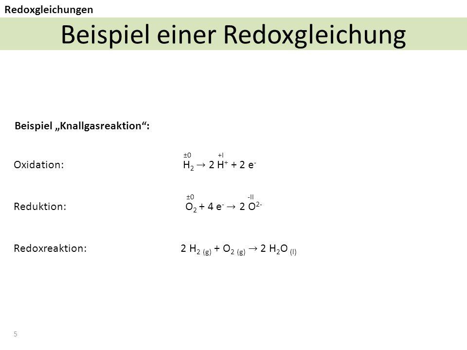 Beispiel einer Redoxgleichung