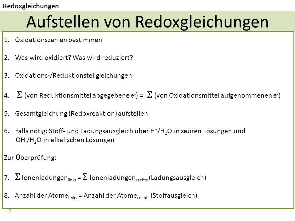 Aufstellen von Redoxgleichungen