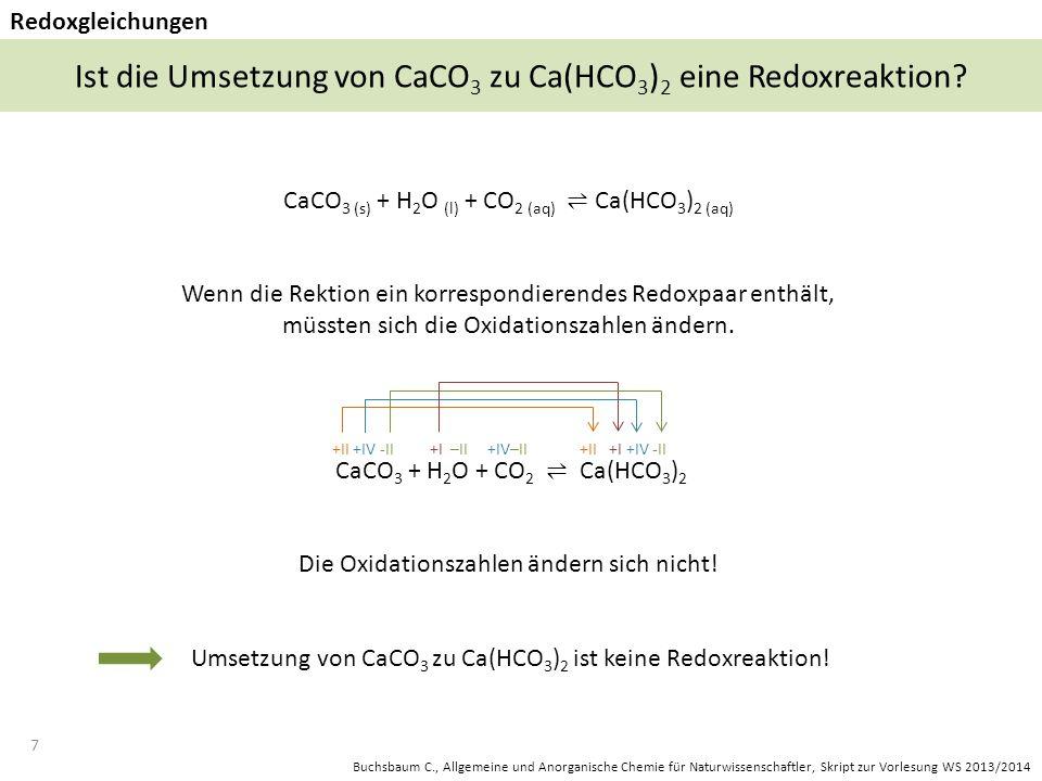 Ist die Umsetzung von CaCO3 zu Ca(HCO3)2 eine Redoxreaktion