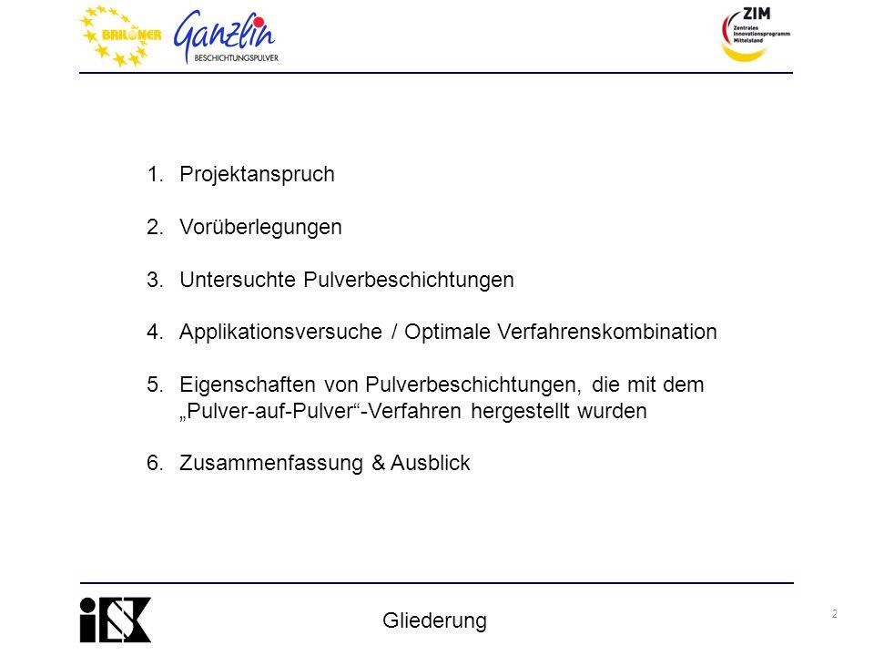 Projektanspruch Vorüberlegungen. Untersuchte Pulverbeschichtungen. Applikationsversuche / Optimale Verfahrenskombination.