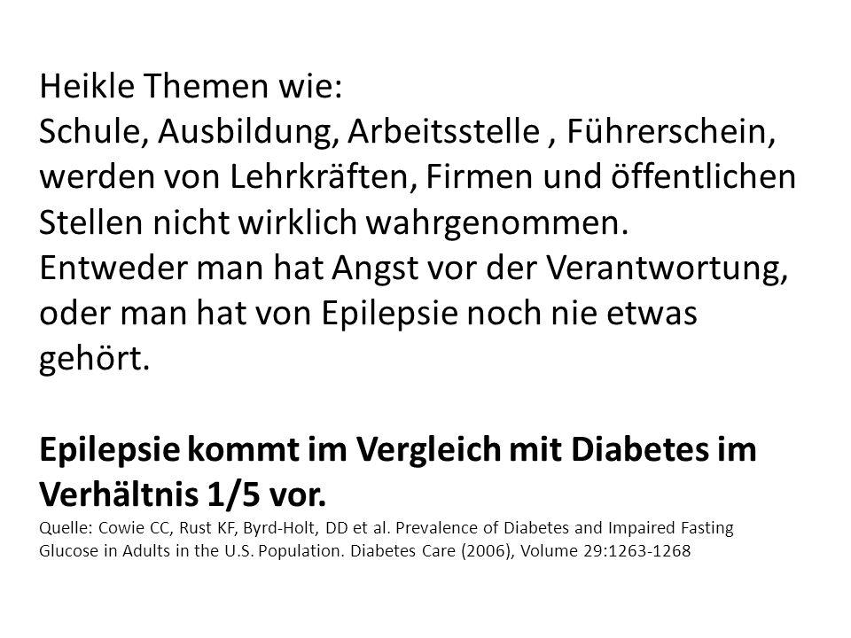 Epilepsie kommt im Vergleich mit Diabetes im Verhältnis 1/5 vor.