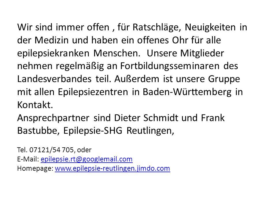 Wir sind immer offen , für Ratschläge, Neuigkeiten in der Medizin und haben ein offenes Ohr für alle epilepsiekranken Menschen. Unsere Mitglieder nehmen regelmäßig an Fortbildungsseminaren des Landesverbandes teil. Außerdem ist unsere Gruppe mit allen Epilepsiezentren in Baden-Württemberg in Kontakt.