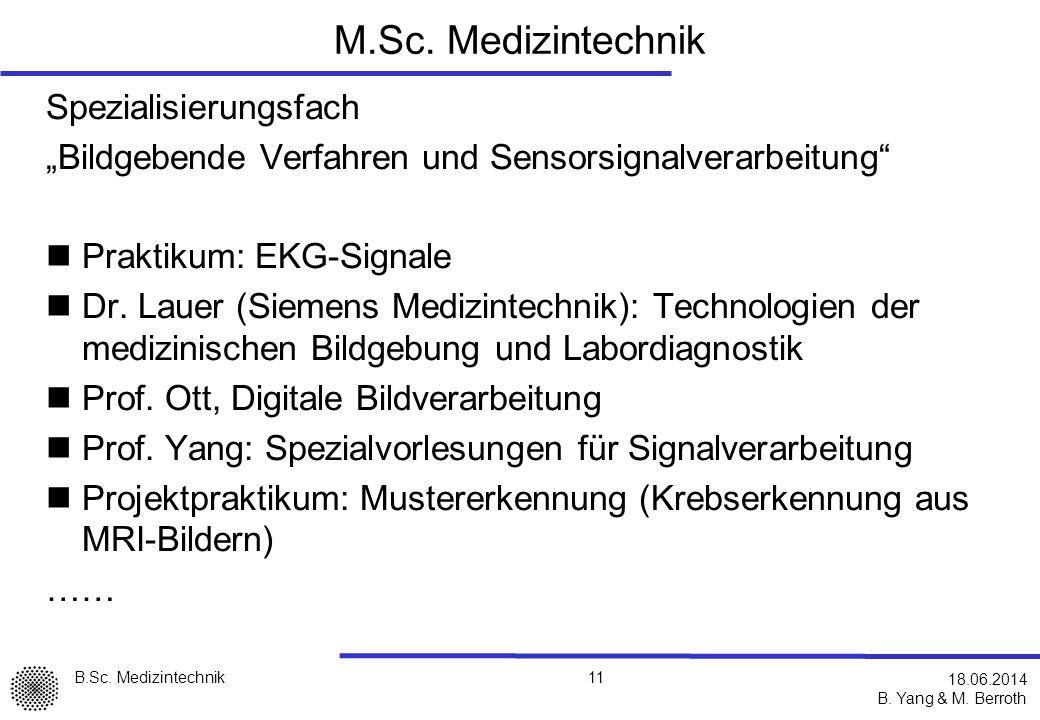 M.Sc. Medizintechnik Spezialisierungsfach